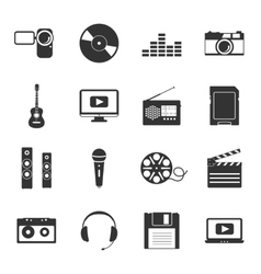Multimedia black and white flat icons set vector