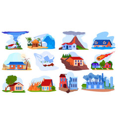 Nature disaster accident set vector