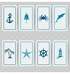Nautical invitation card set vector