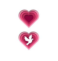 Papercut heart love dove papercut vector