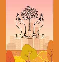 peace day symbol with tree protected by hands vector image
