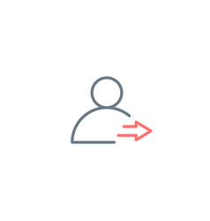 Profile logout icon with arrow out editable vector