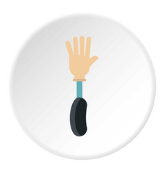 Prosthesis hand icon circle vector