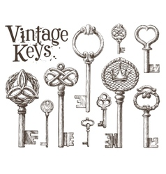 retro key logo design template antiques or vector image