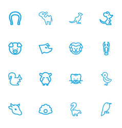 Set of 16 editable zoology outline icons includes vector