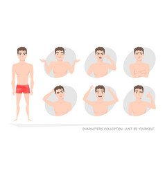 set of emotions and gestures to the young man vector image vector image
