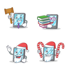 Set of tablet character with judge book santa vector
