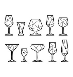 Set triangle icon glasses vector