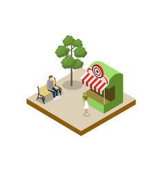 Shooting gallery isometric 3d element vector