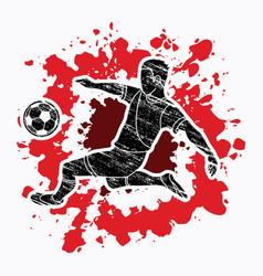 Soccer player kicking a ball action vector