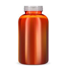 supplement bottle orange plastic vitamin pill jar vector image