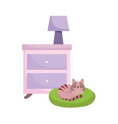 table with lamp and cat in cushion isolated white vector image