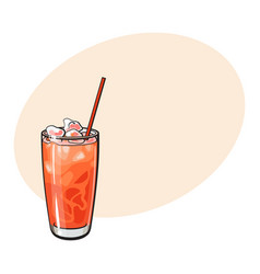 Tall glass full of freshly squeezed grapefruit vector