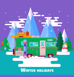 travel carwinter holidays winter holidays in vector image