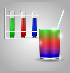 tubes with colored liquids on a white background vector image
