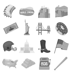 USA country set icons in monochrome style Big vector