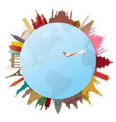 World landmarks and travel around world vector