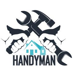 wrench and hammer handyman symbol vector image