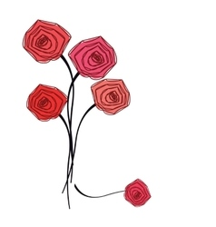 Bouquet of red roses on white background vector image