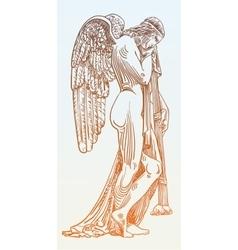 digital sketch drawing of marble statue sad angel vector image