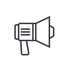 loudspeaker sign line icon sign vector image vector image
