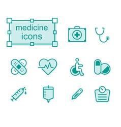 Thin line icons set Medicine vector image vector image