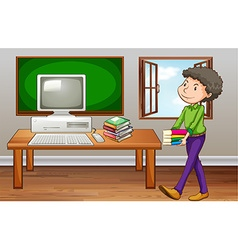 Student carrying books in class vector image