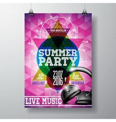 Summer beach party flyer design with headphone vector