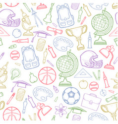 school detailed pattern with equipment vector image