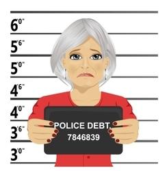 Arrested senior woman posing for mugshot vector image