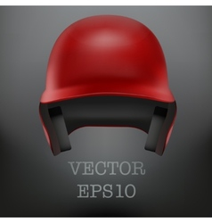 Baseball red helmet Front view isolated vector image vector image