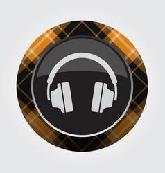 button with orange black tartan - headphones icon vector image