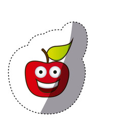 Colorful red kawaii fruit apple happy icon vector