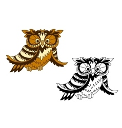 Funny cartoon owl bird in outline style vector image vector image