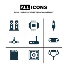 set of 9 computer hardware icons includes vga vector image vector image