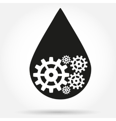 Silhouette symbol of oil industry drop with gears vector image vector image