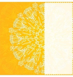Vintage ethnic ornament orange background vector image