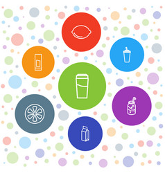 7 juice icons vector image