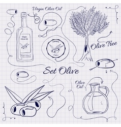 A large collection of stand-alone sketch olives vector