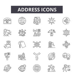address line icons editable stroke signs concept vector image