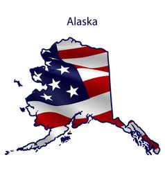 alaska full american flag waving in wind vector image