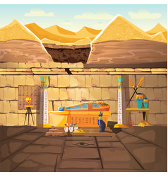 ancient egypt pharaoh underground lost tomb vector image
