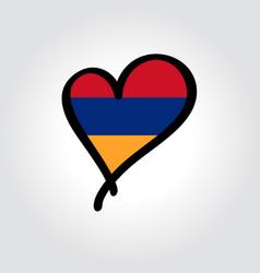 Armenian flag heart-shaped hand drawn logo vector