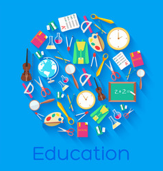 back to school circle flat icons concept vector image