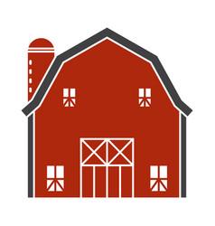 Barn or farm house with pole barns flat color vector