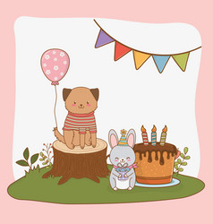 birthday card with cute animals woodland vector image