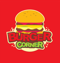 Burger corner logo design vector