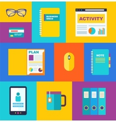 business collection of flat and colorful web icons vector image