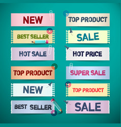business promo retro paper labels new sale top vector image