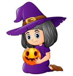 cartoon little witch holding a pumpkin vector image